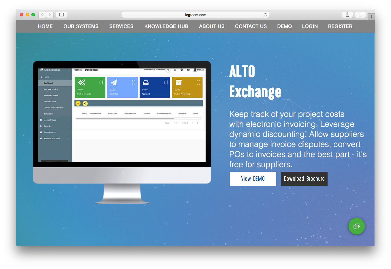 ALTO exchange electronic invoicing project costs dynamic discounting invoice disputes
