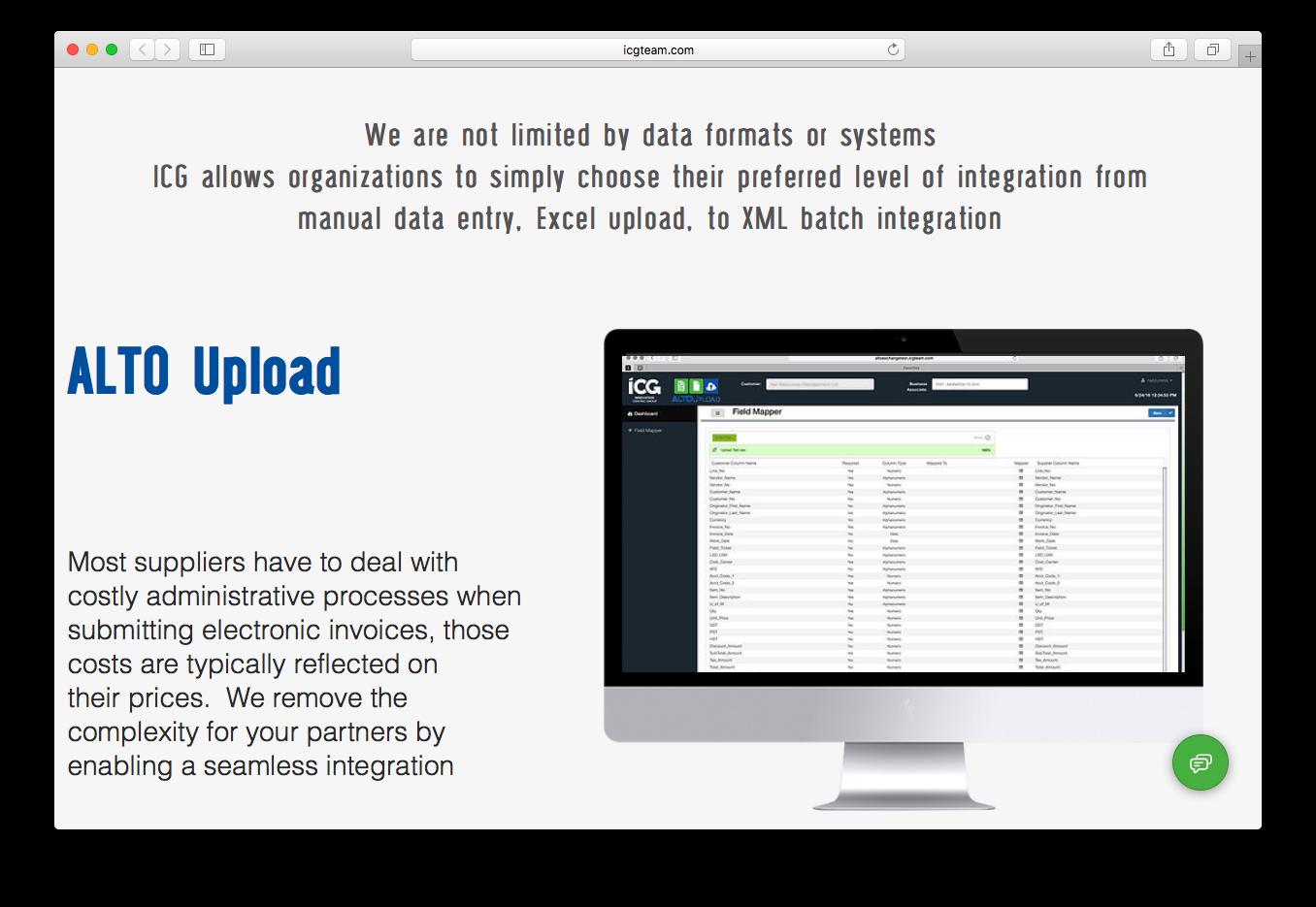 ALTO exchange upload integration electronic invoices