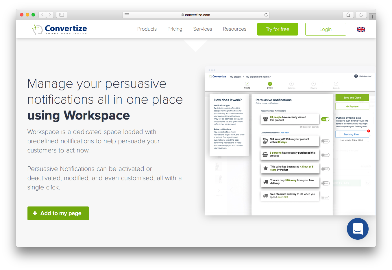 Convertize manage persuasive notifications workspace