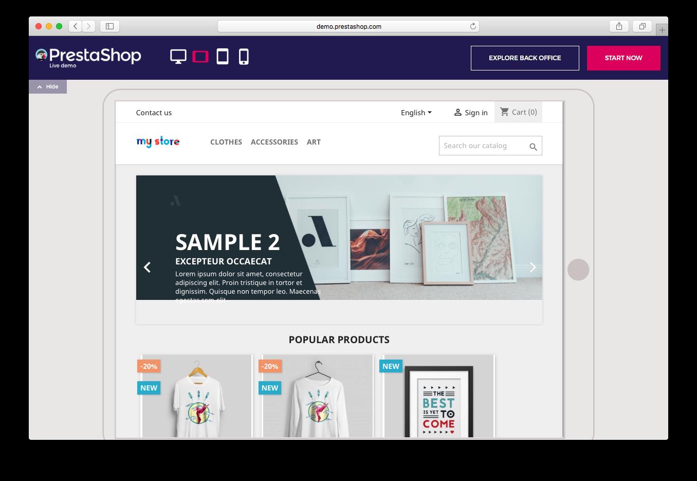 PrestaShop live demo ecommerce store web hosting