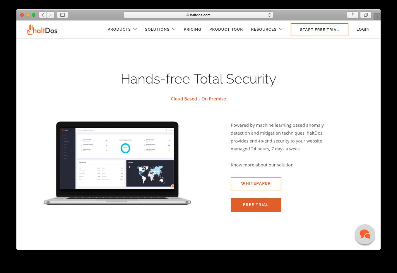 HaltDos cloud based on premise website security