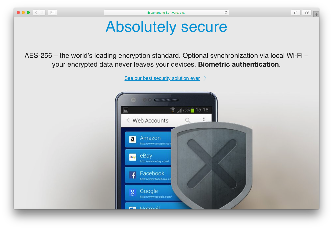 Sticky Password secure encryption synchronization biometric authentication