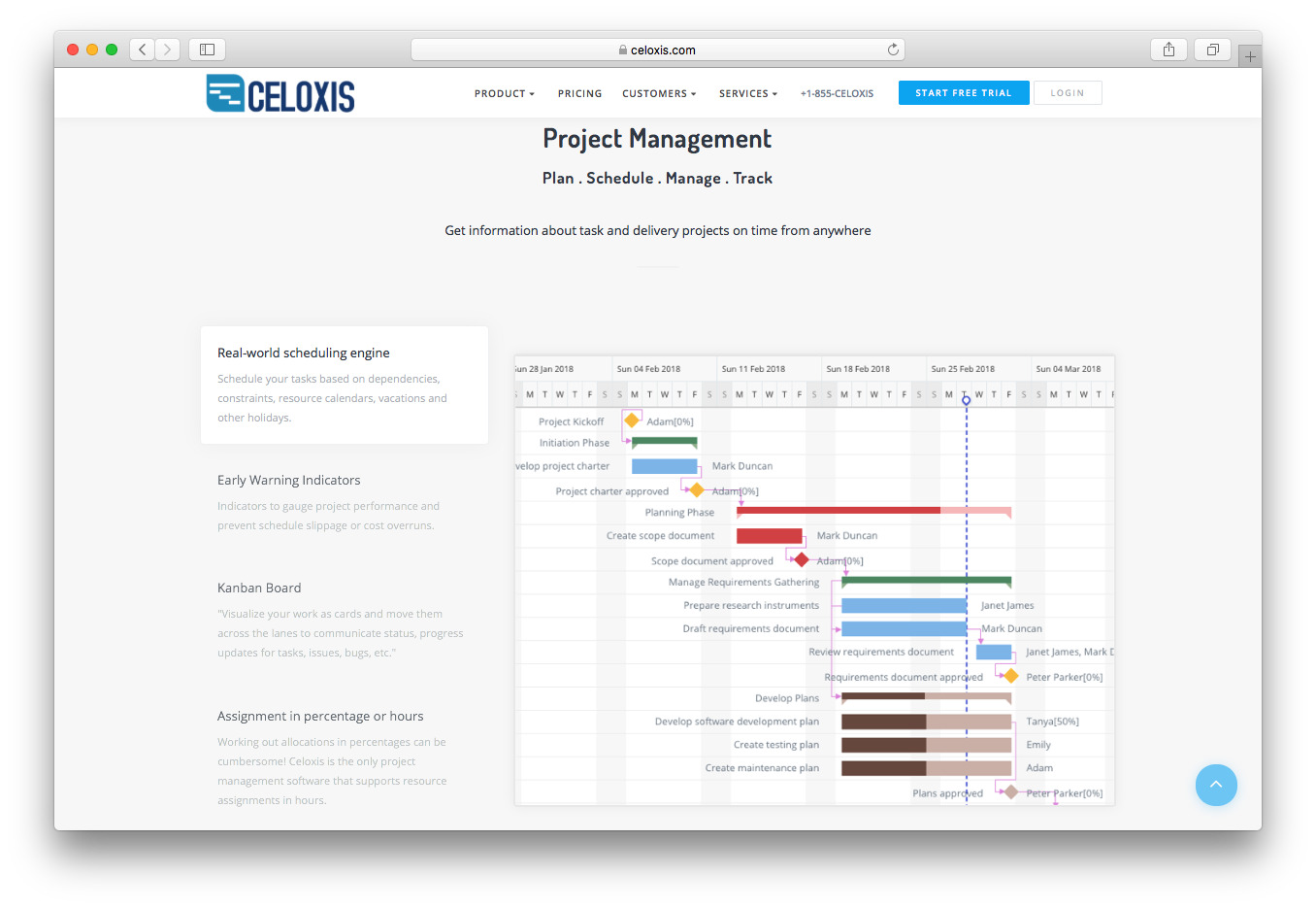 Celoxis project management plan schedule manage track