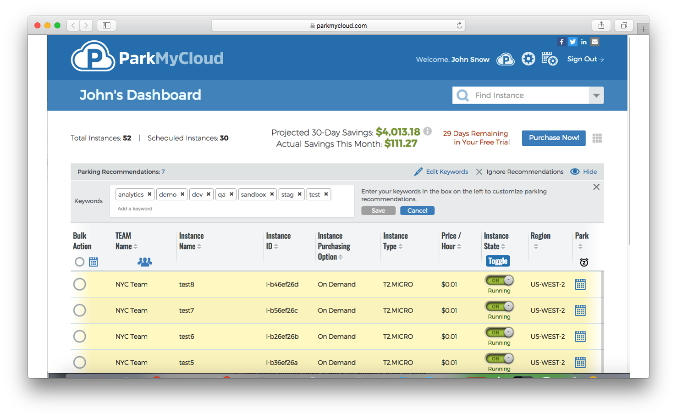 ParkMyCloud save time automation schedules development resources instances