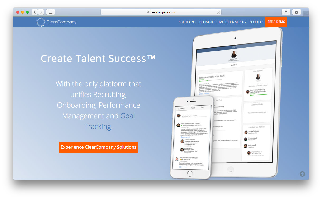 ClearCompany recruiting on boarding performance management goal tracking platform