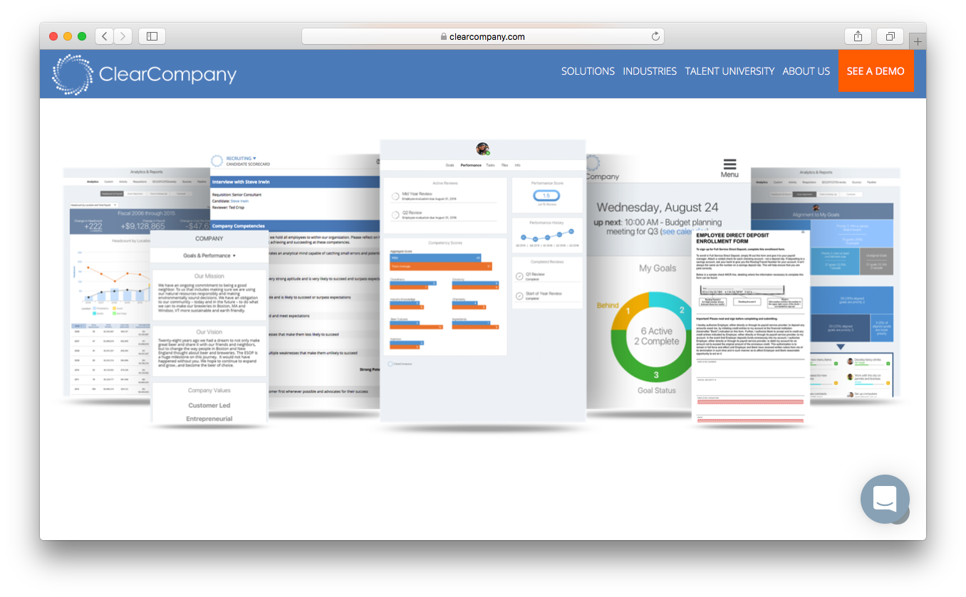 ClearCompany hr software talent operating system engage employees mission vision goals