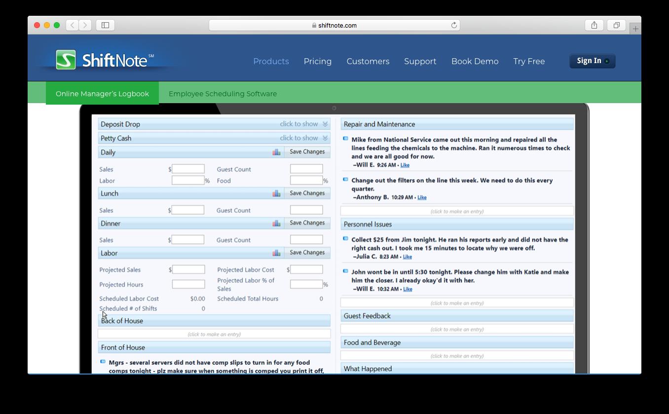 ShiftNote online task manager logbook communication log shift planning
