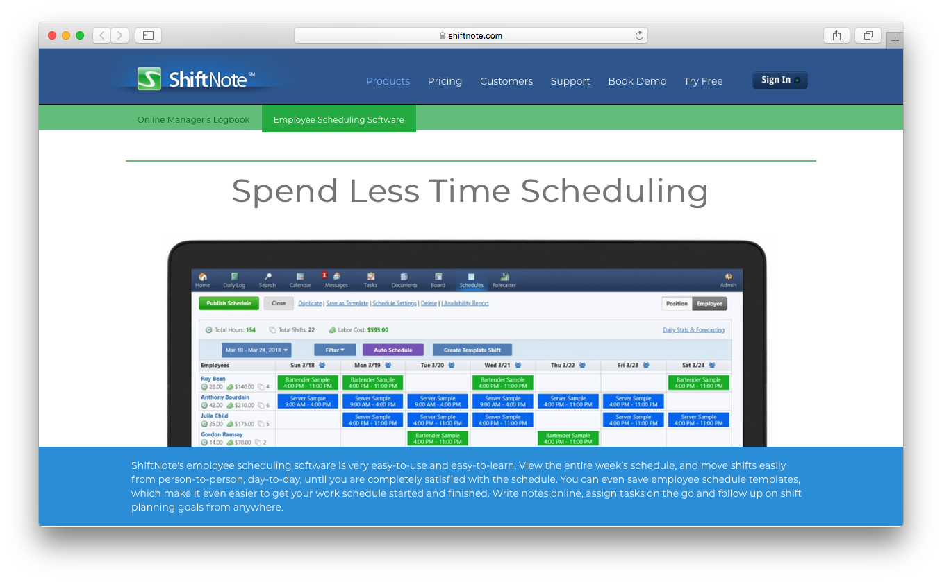 ShiftNote employee scheduling software shifts templates notes tasks