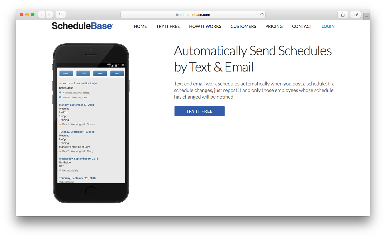 ScheduleBase online schedule maker send text email automatically employees