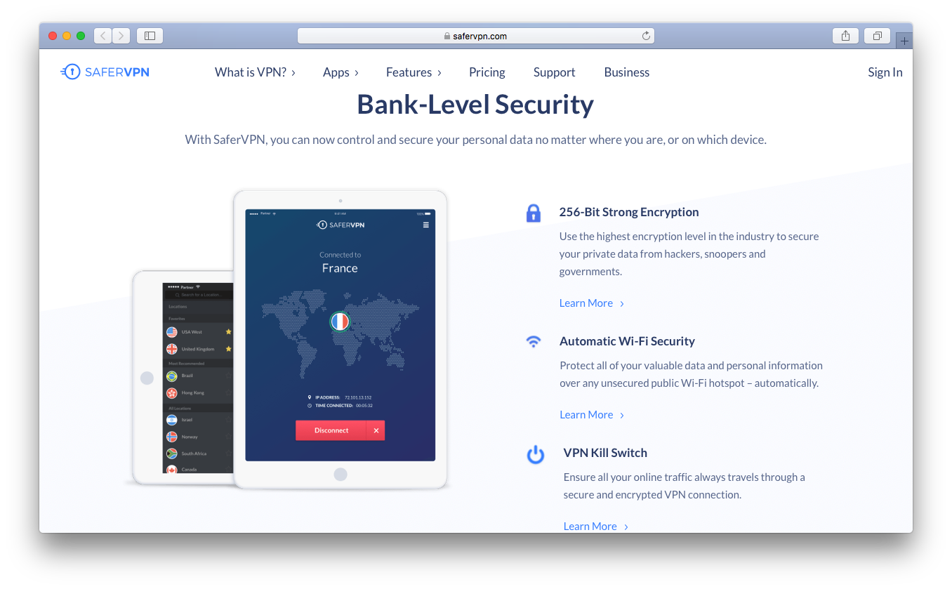 SaferVPN bank level security 256 bit encryption kill switch