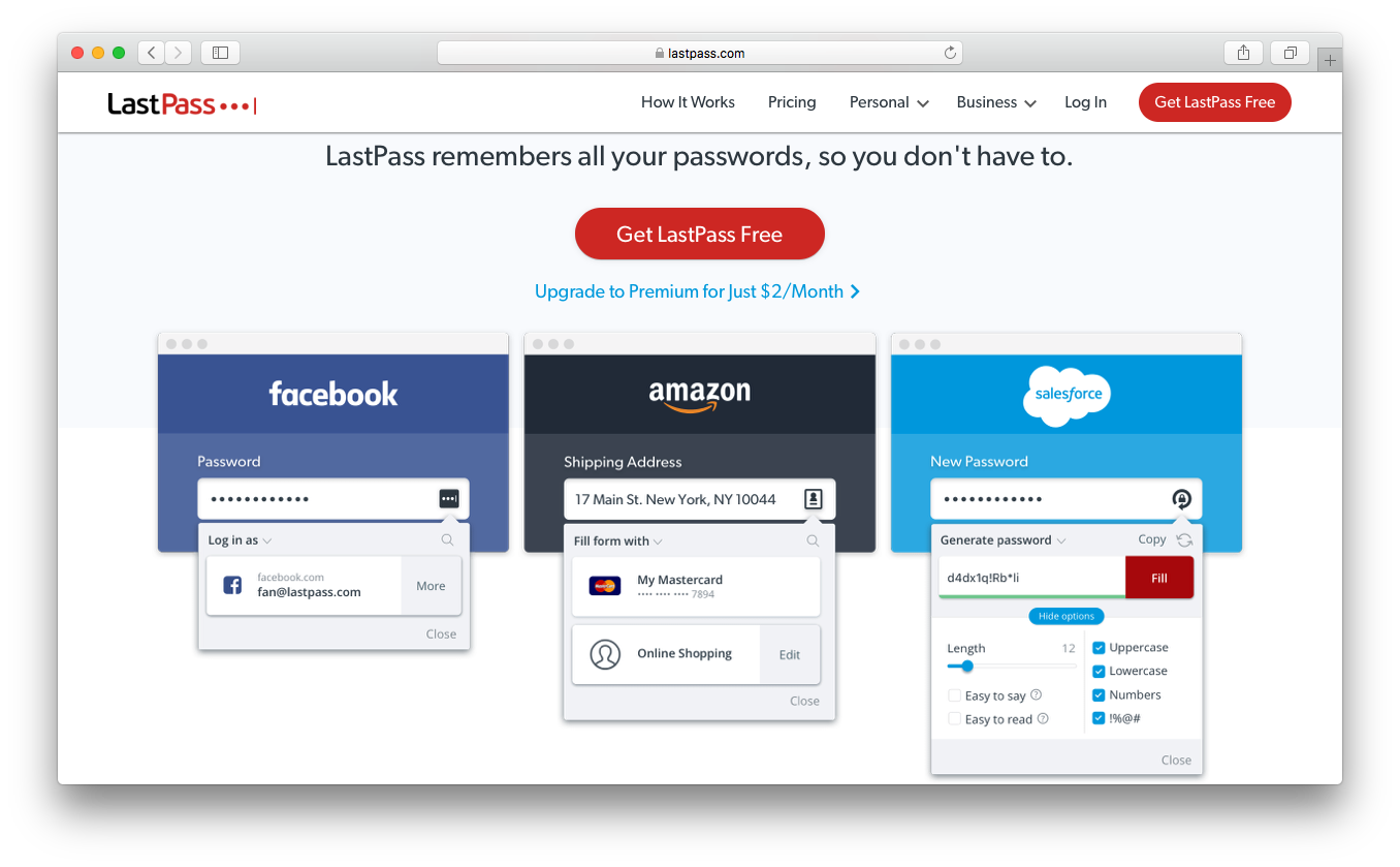 LastPass remember generate passwords login information