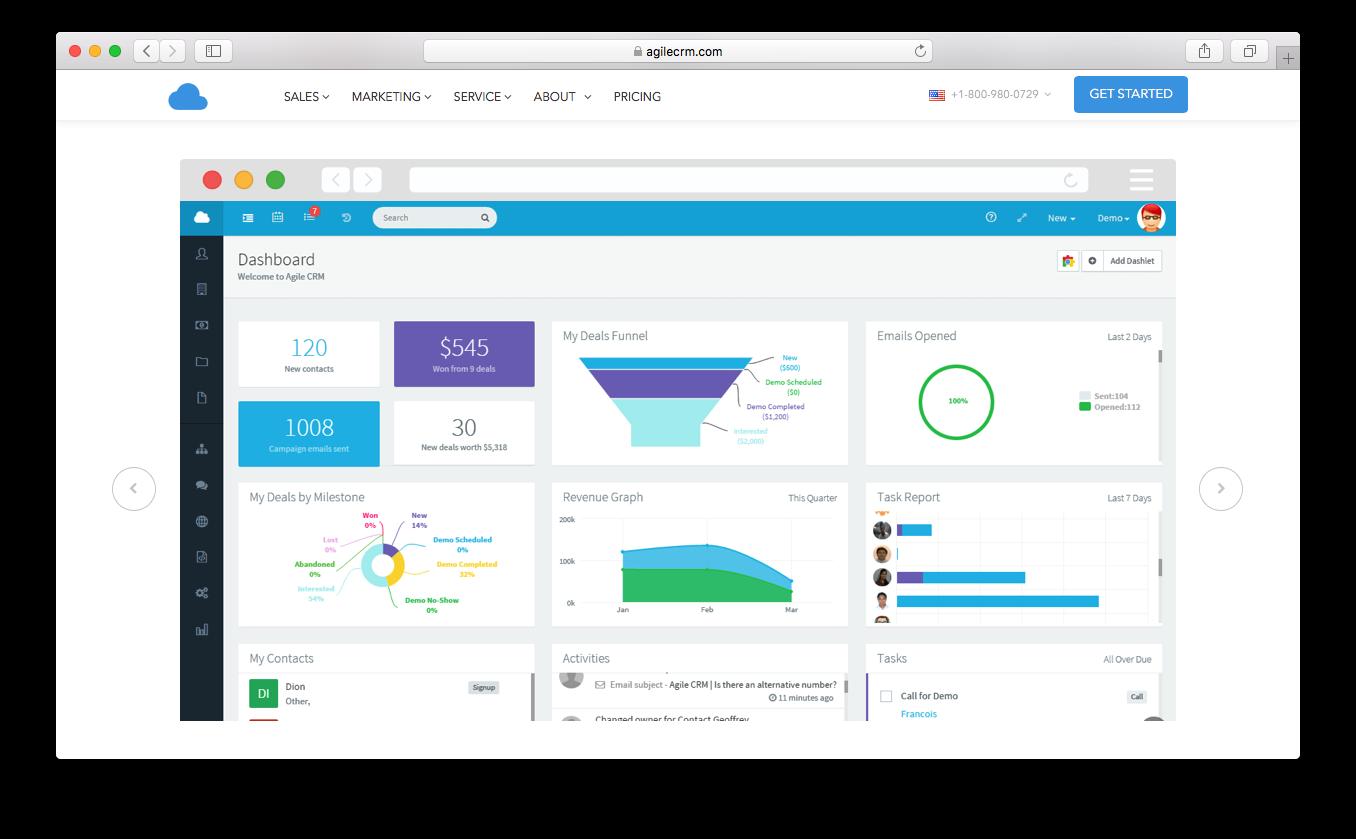 Agile CRM dashboard deals emails revenue tasks