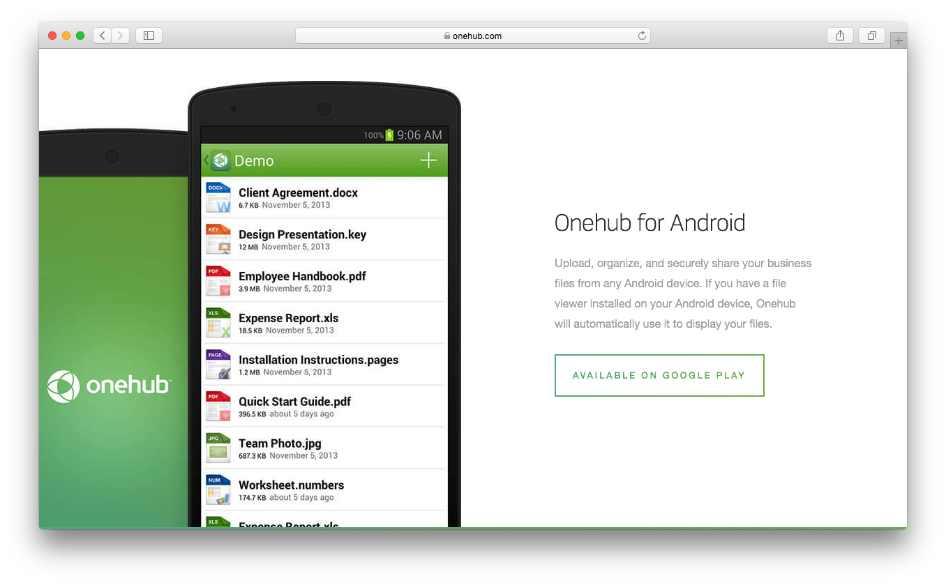 Onehub android ios device upload organize share files