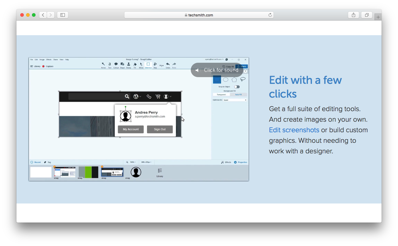 Snagit edit suite screenshots tools create images custom graphics