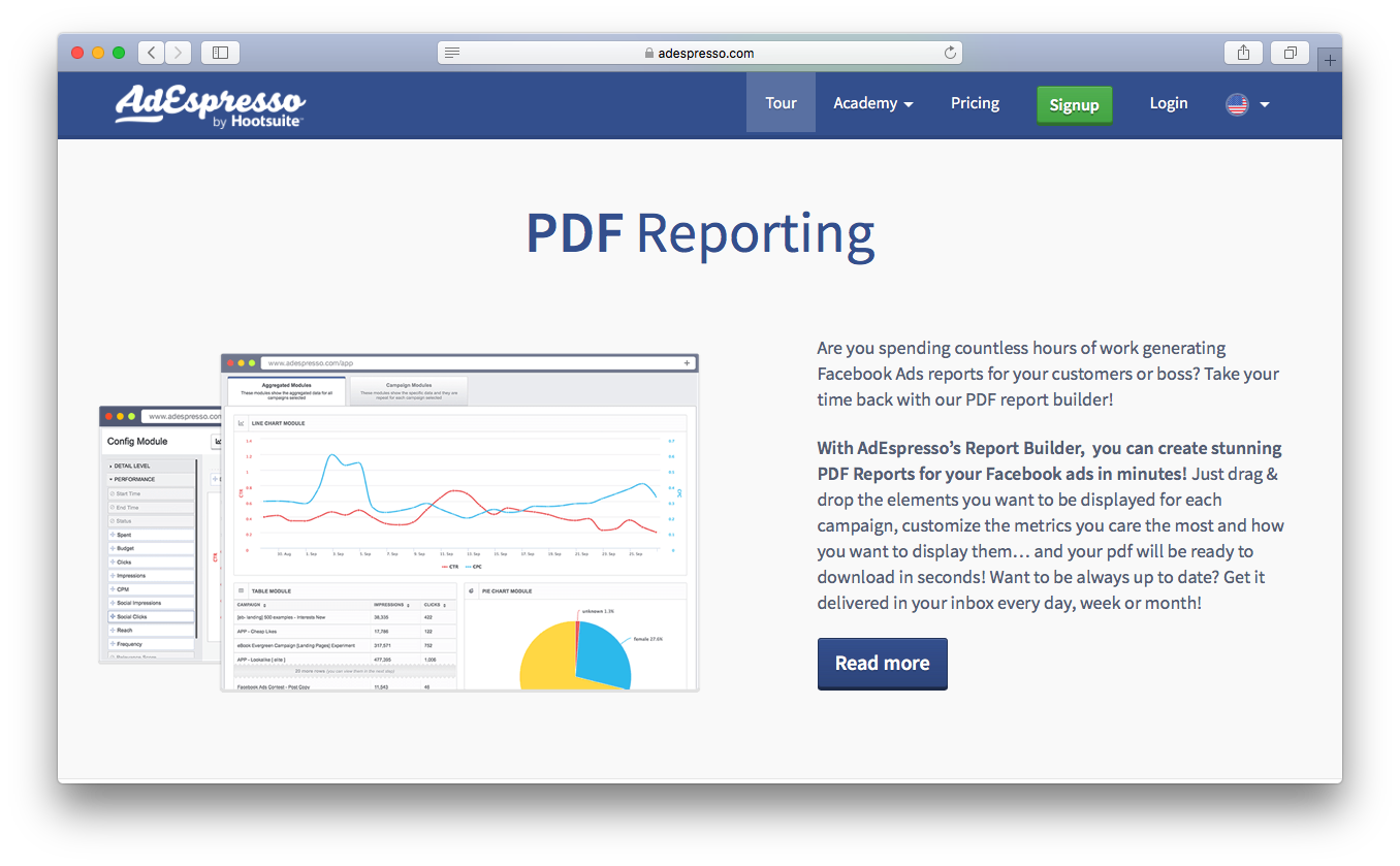 AdEspresso pdf reporting report builder facebook ads