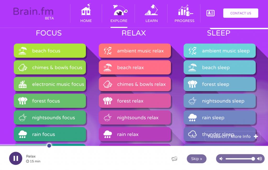 brain fm explore focus relax sleep