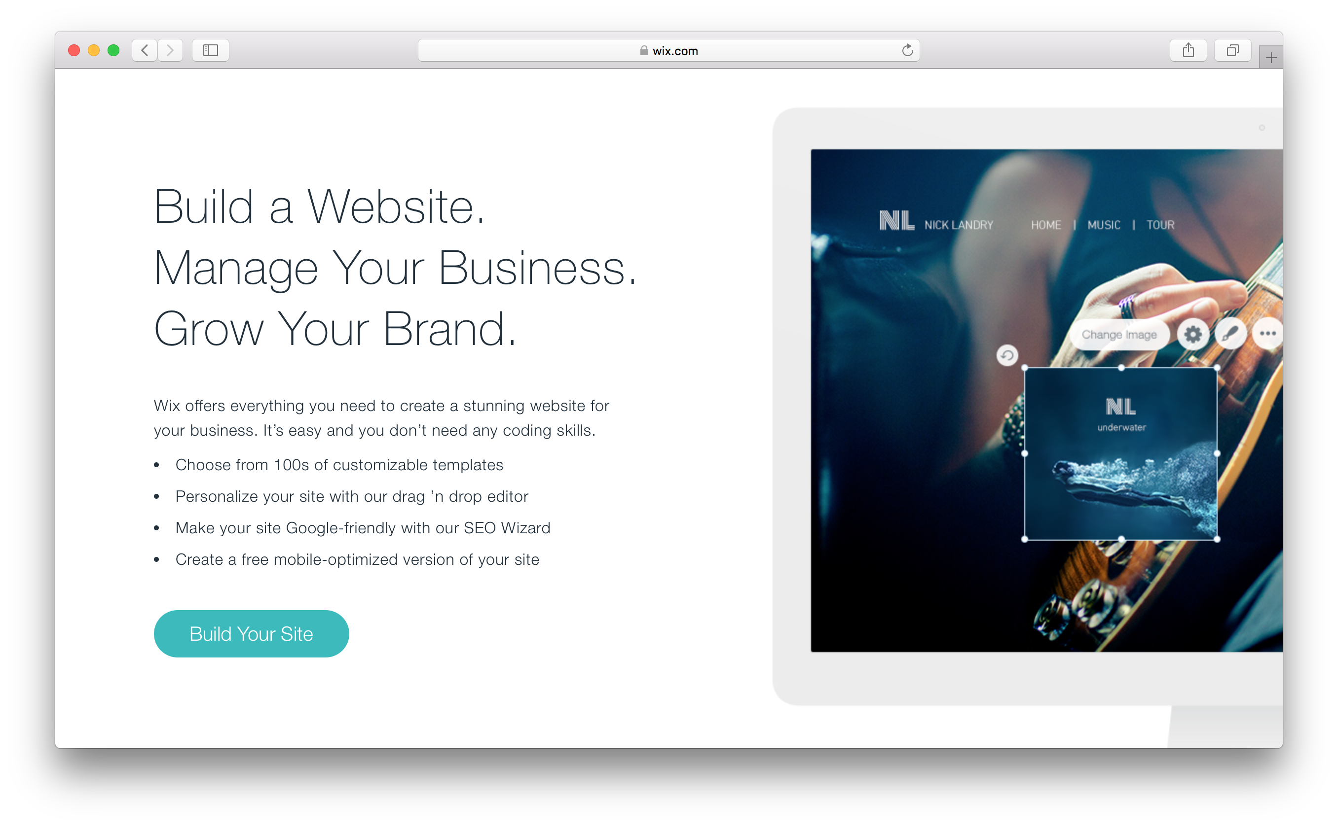 Wix website builder template