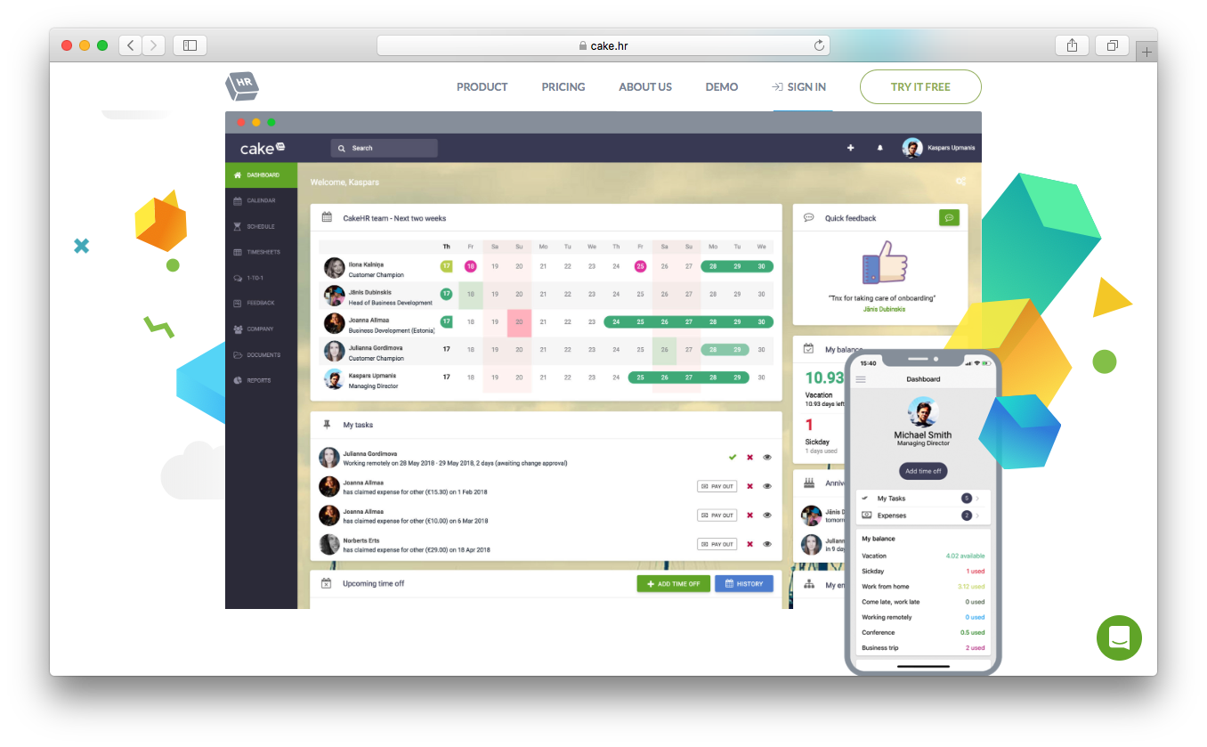 cakehr hr solution dashboard