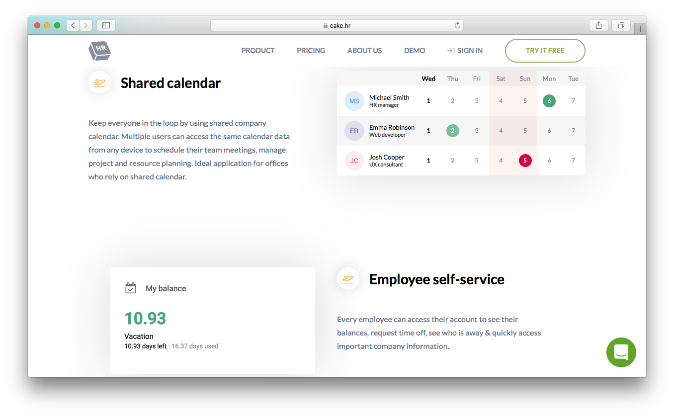 CakeHR leave management calendar employee self service