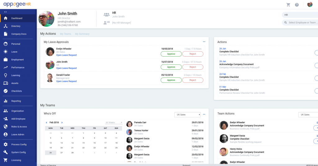 Appogee HR Dashboard UI online human resources management