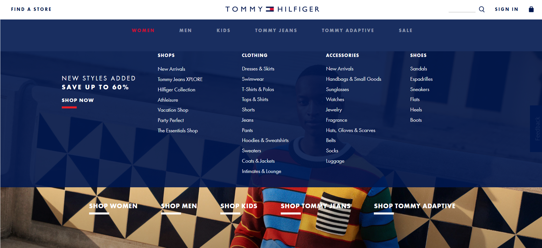 Tommy Hilfiger product categories screenshot