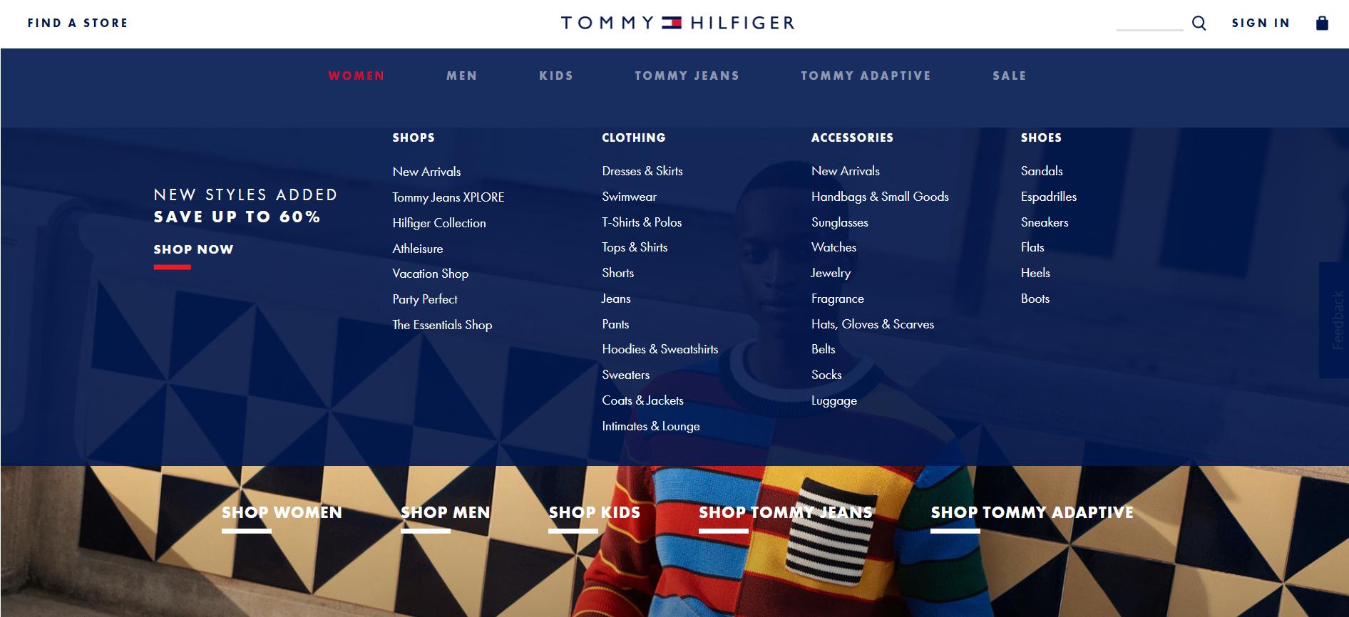 Tommy Hilfiger product categories screenshot