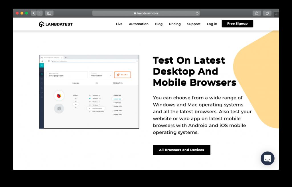 LambdaTest desktop mobile browsers