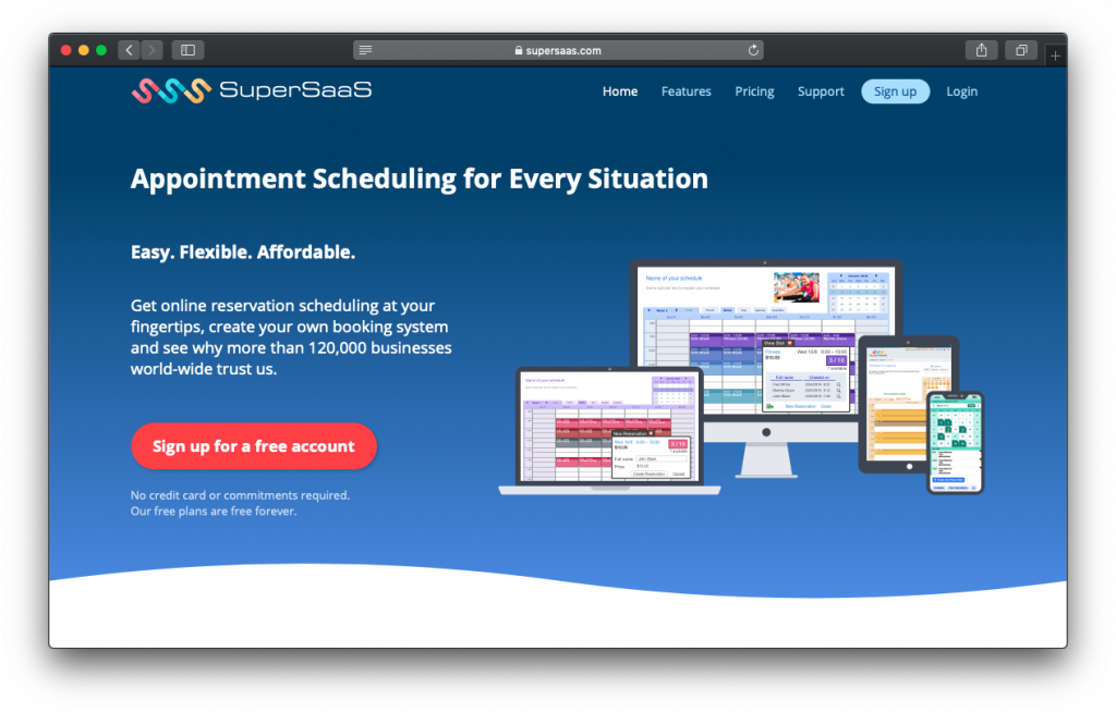 SuperSaaS appointment scheduling