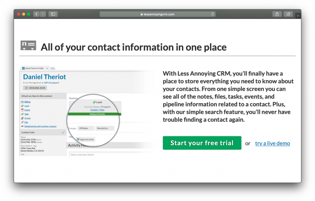 Less Annoying CRM contacts