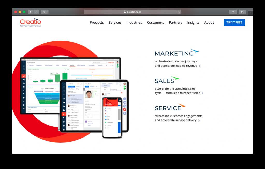 CRM Creatio Marketing Sales Service