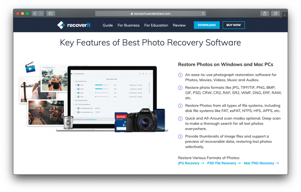 Wondershare Recoverit Photo Recovery features