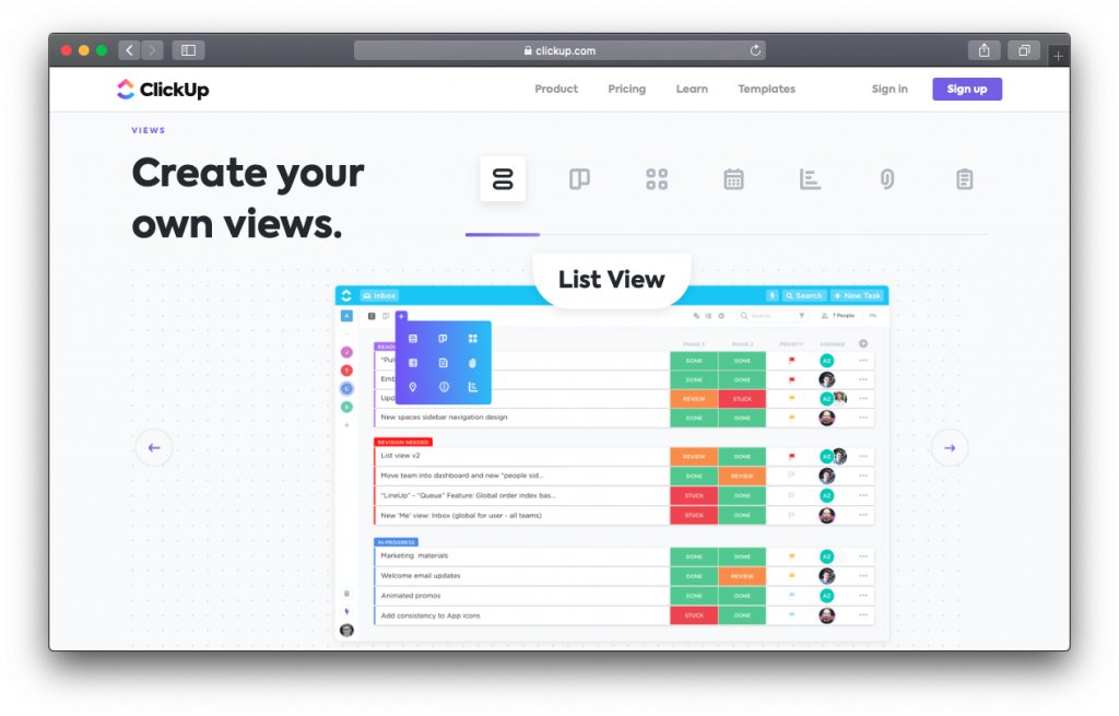 ClickUp list view