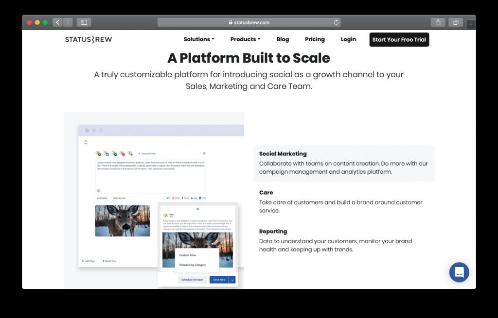Statusbrew social marketing platform