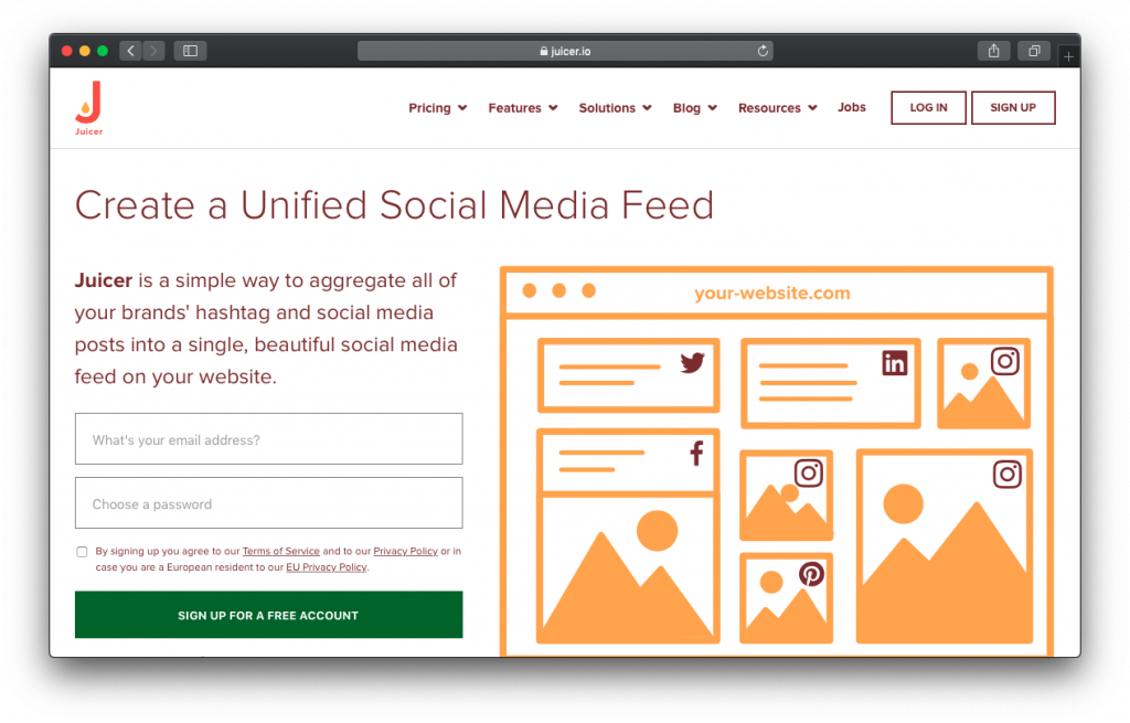 Juicer social media feed