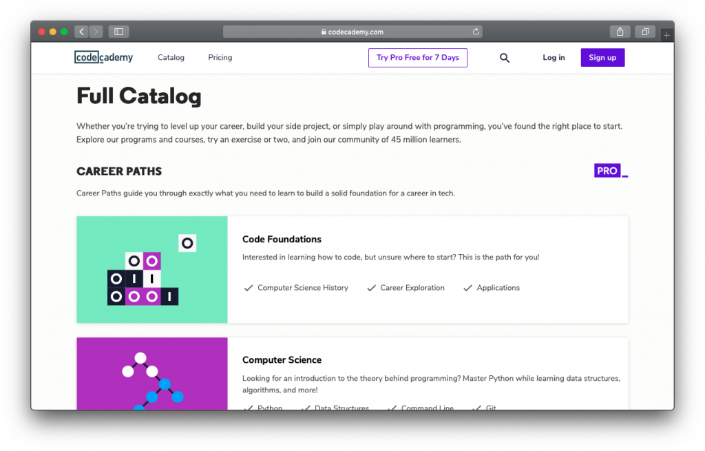 Codecademy course catalog