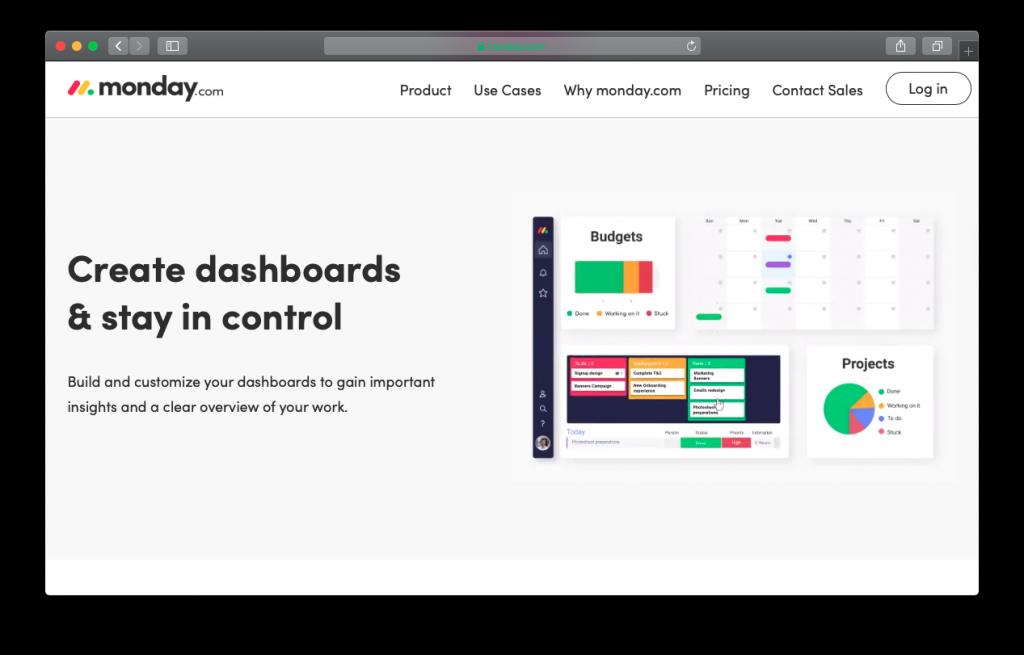 monday.com software dashboard