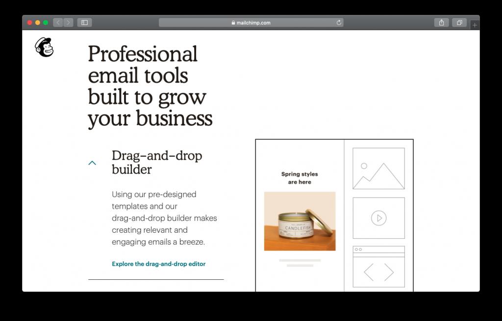 MailChimp drag and drop builder