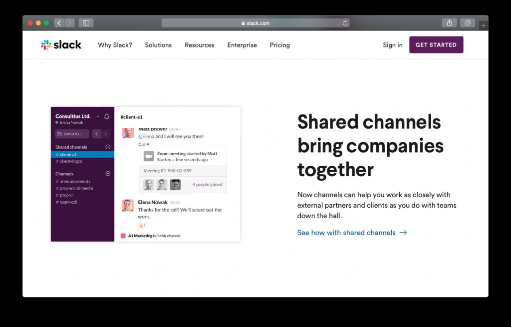 Slack shared channels