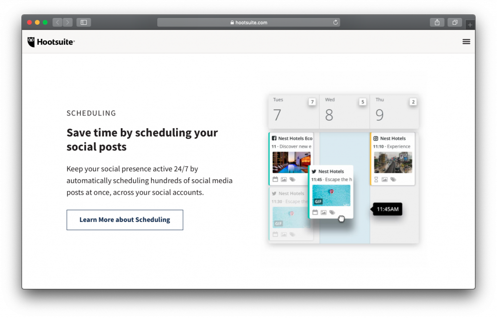 Hootsuite social post scheduling