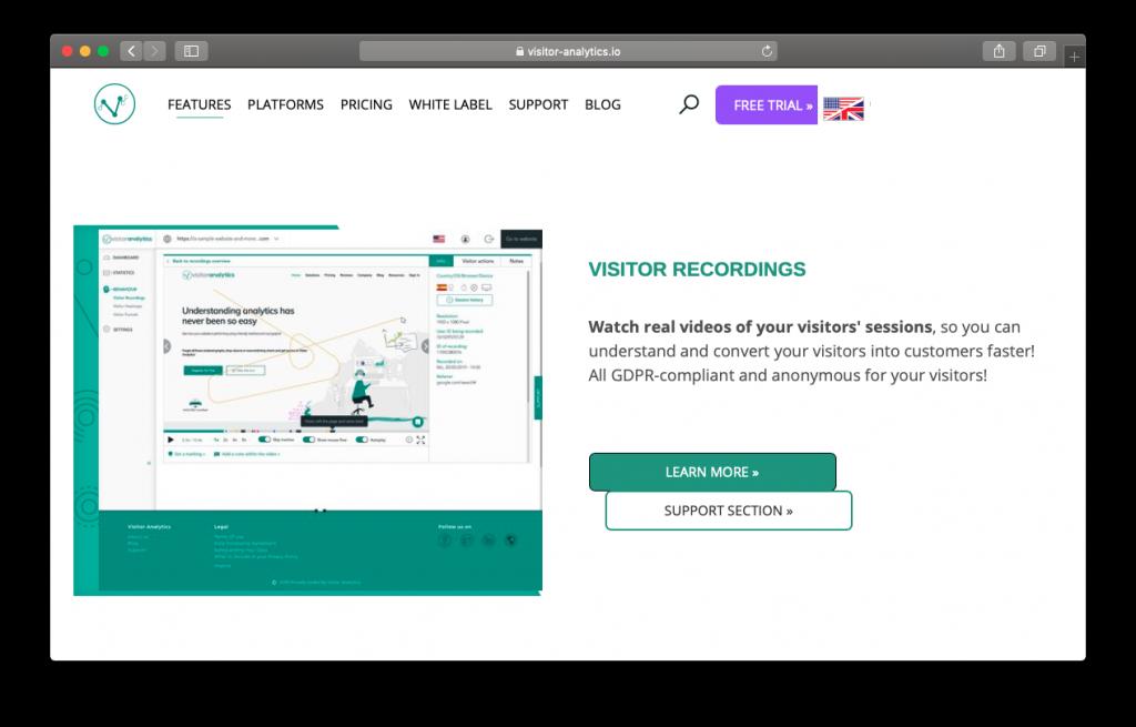 Visitor Analytics heatmap recordings