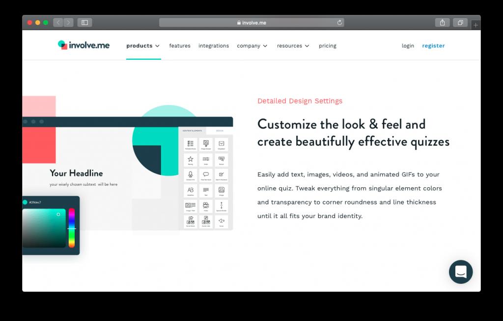 involve.me website quiz design