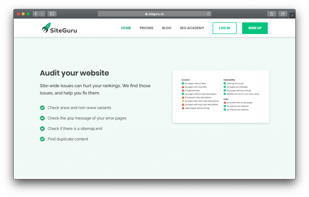 SiteGuru SEO website audit