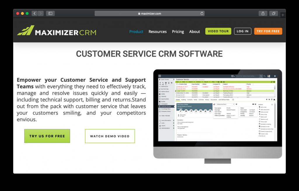 maximizer customer service crm
