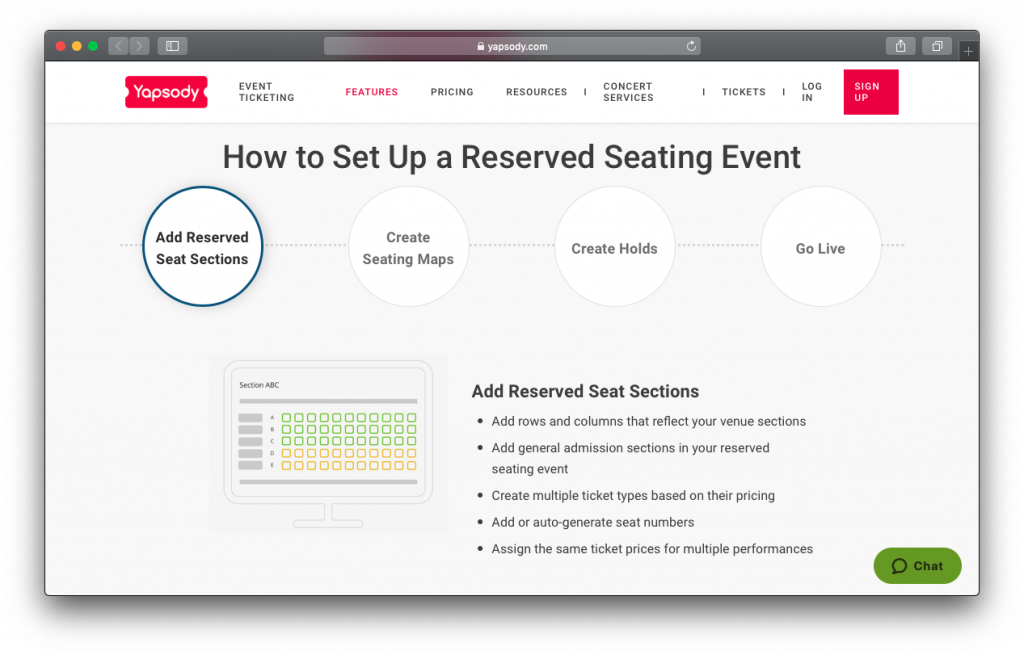 Yapsody reserved seating event