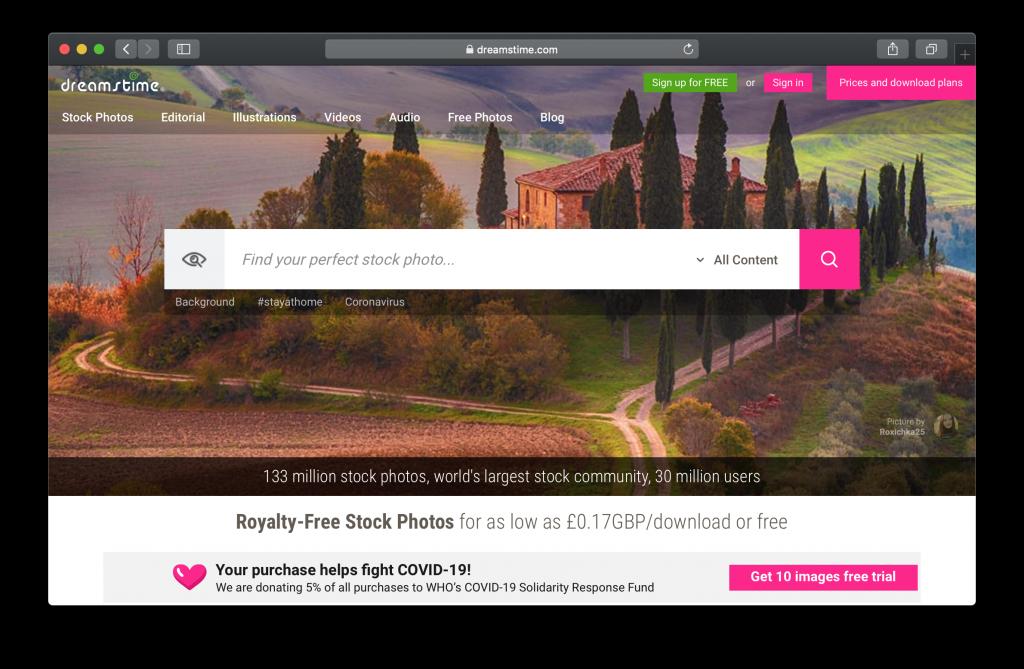 Dreamstime Homepage