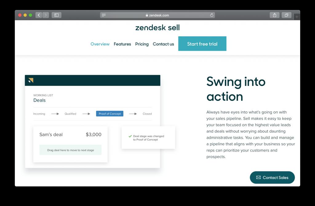 Zendesk Sell Homepage