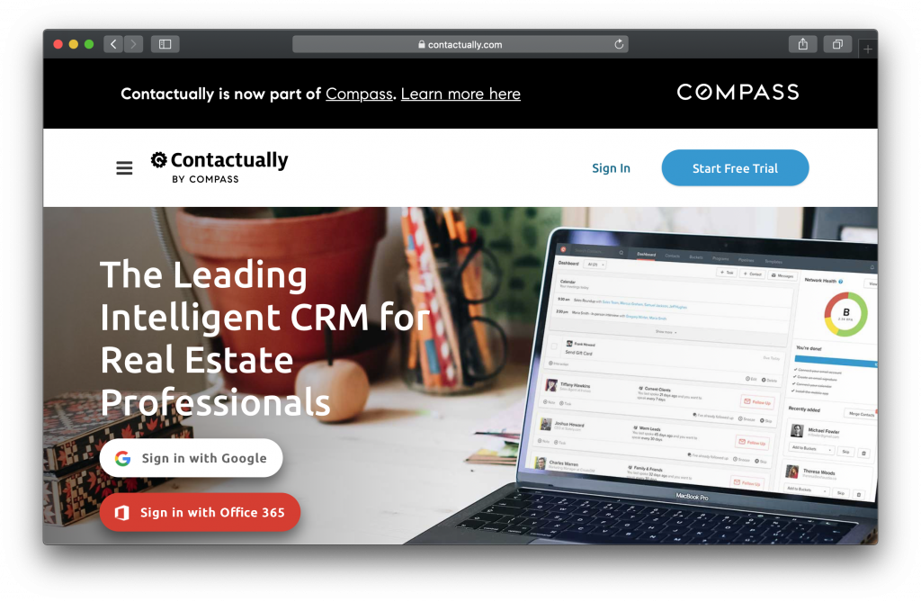 Contactually Homepage