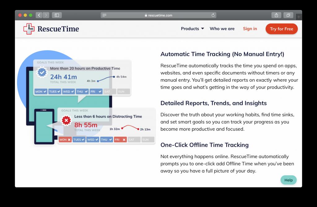 RescueTime Homepage