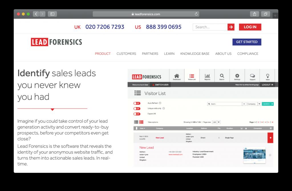 Lead Forensics Homepage