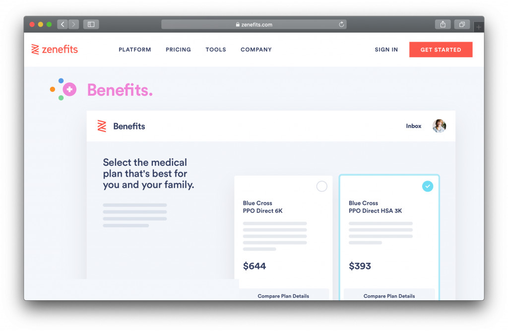Zenefits Homepage